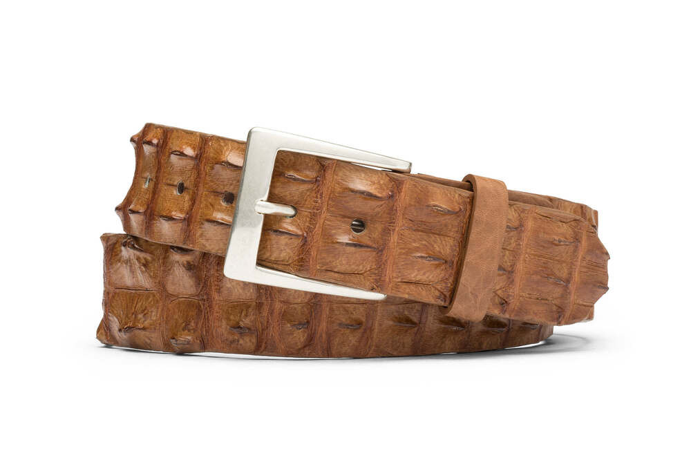 Tan Hornback Crocodile Tail Belt with Brushed Nickel Buckle