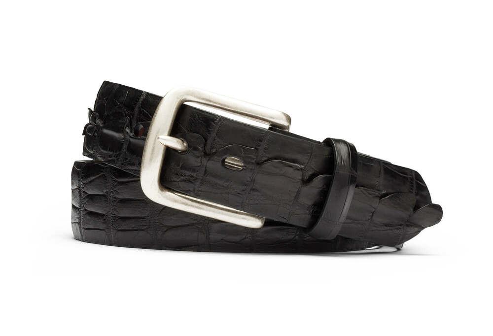 Black Hornback Alligator Tail Belt with Nickel Buckle