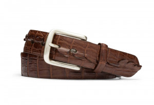 Cigar Hornback Alligator Tail Belt with Nickel Buckle
