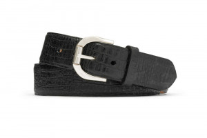 Black Embossed Crocodile Belt with Antique Roller Buckle