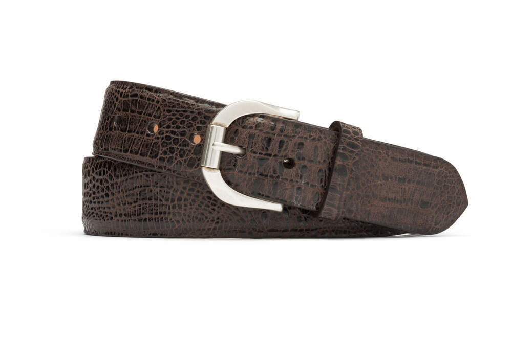 Chocolate Embossed Crocodile Belt with Antique Roller Buckle