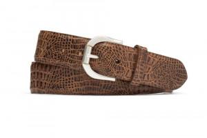 Cognac Embossed Crocodile Belt with Antique Roller Buckle