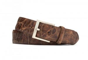 Cognac Embossed Rustic Alligator Belt with Antiqued Nickel Buckle