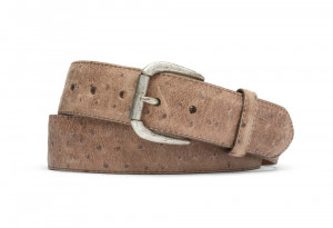 Tan Vintage Embossed Ostrich with Antique Buckle