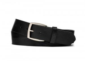 Black Vintage Leather Belt with Antique Nickel Buckle