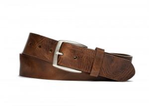 Chestnut Vintage Leather Belt with Antique Nickel Buckle