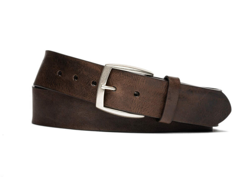 Chocolate Vintage Leather Belt with Antique Nickel Buckle