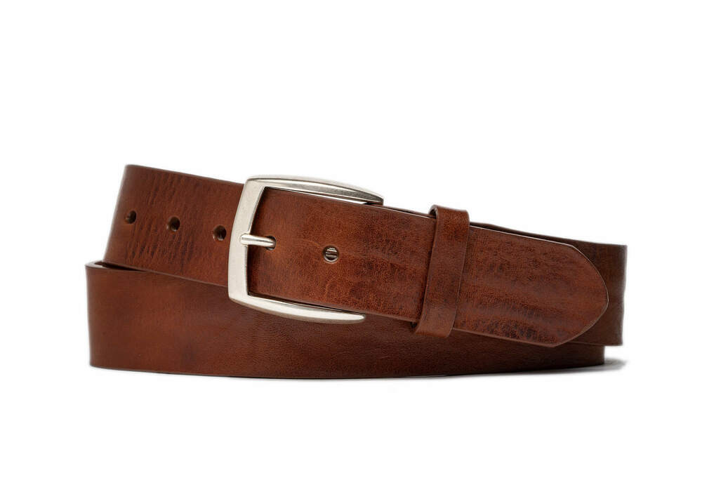 Rust Vintage Leather Belt with Antique Nickel Buckle
