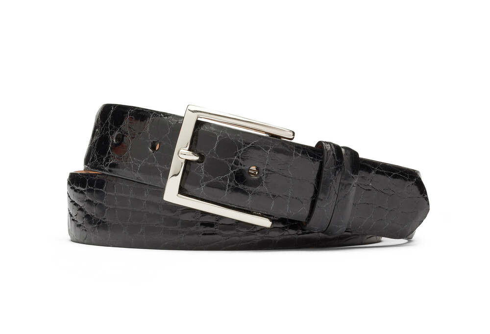 Black Glazed Crocodile Belt with Nickel Buckle