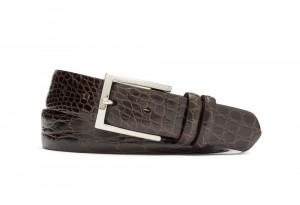 Chocolate Glazed Crocodile Belt with Nickel Buckle