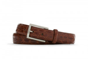 Cognac Glazed Crocodile Belt with Nickel Buckle