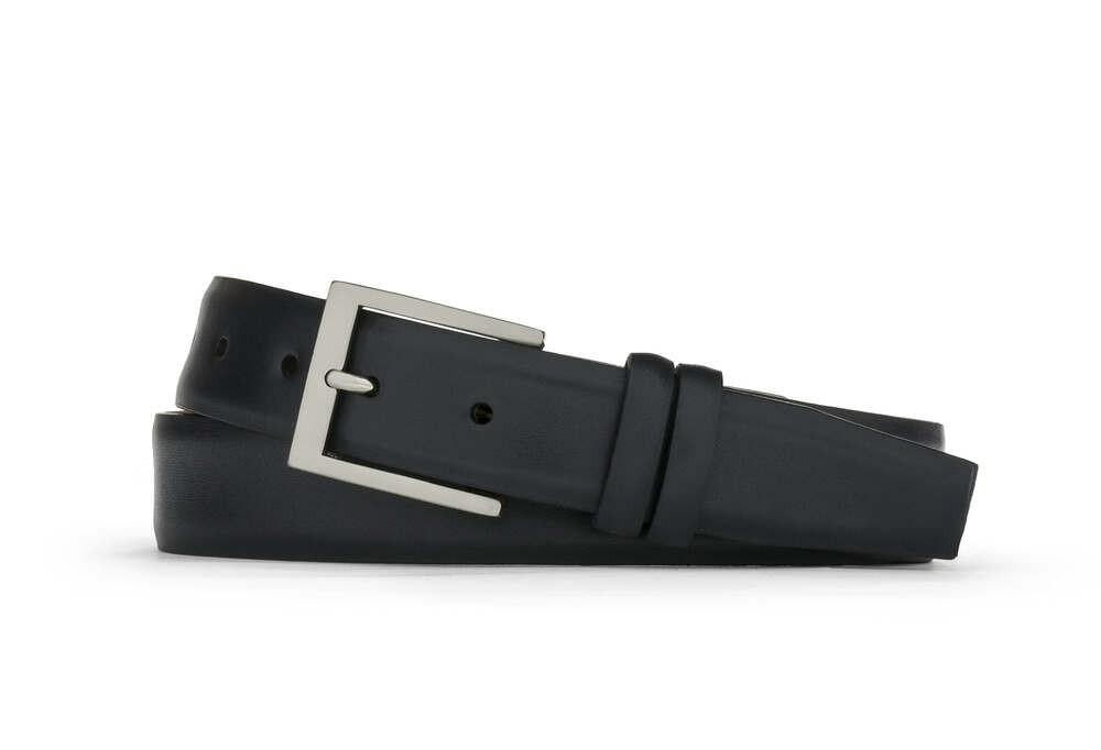 Black Semi-Matte Calf Belt with Brushed Nickel Buckle