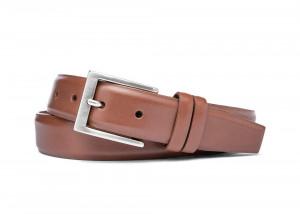 Cognac Semi-Matte Calf Belt with Brushed Nickel Buckle