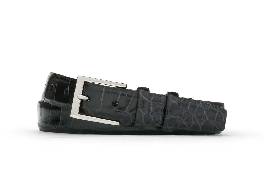 Black Embossed Crocodile Belt with Nickel Buckle