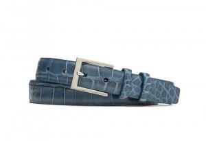 Blue Embossed Crocodile Belt with Nickel Buckle