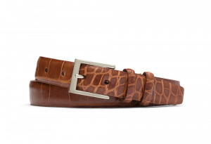 Cognac Embossed Crocodile Belt with Nickel Buckle