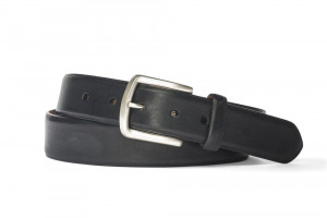 Black Antique Bison Belt with Brushed Nickel Buckle