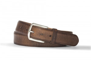 Mocha Antique Bison Belt with Brushed Nickel Buckle