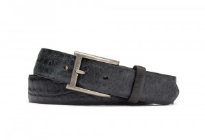 Black Distressed Embossed Crocodile Belt with Antique Buckle
