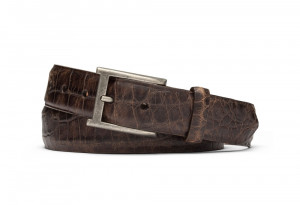 Chocolate Distressed Embossed Crocodile Belt with Antique Buckle