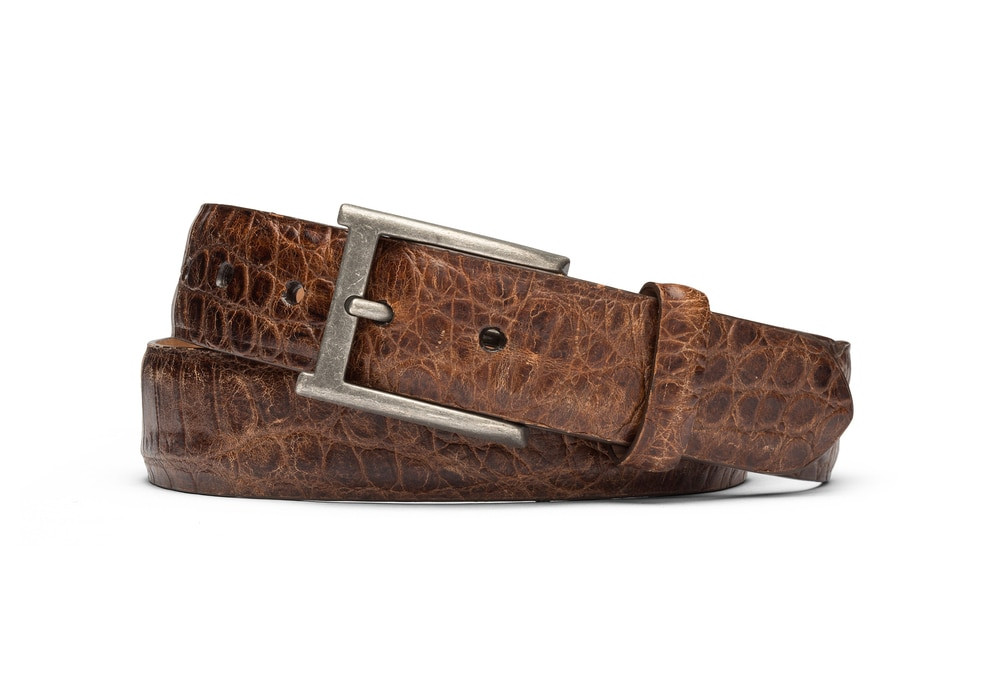 Cognac Distressed Embossed Crocodile Belt with Antique Buckle