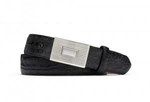 Black Distressed Embossed Crocodile Belt with Plaque Buckle