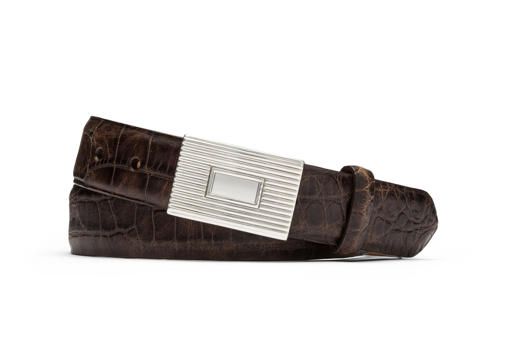 Chocolate Distressed Embossed Crocodile Belt with Plaque Buckle