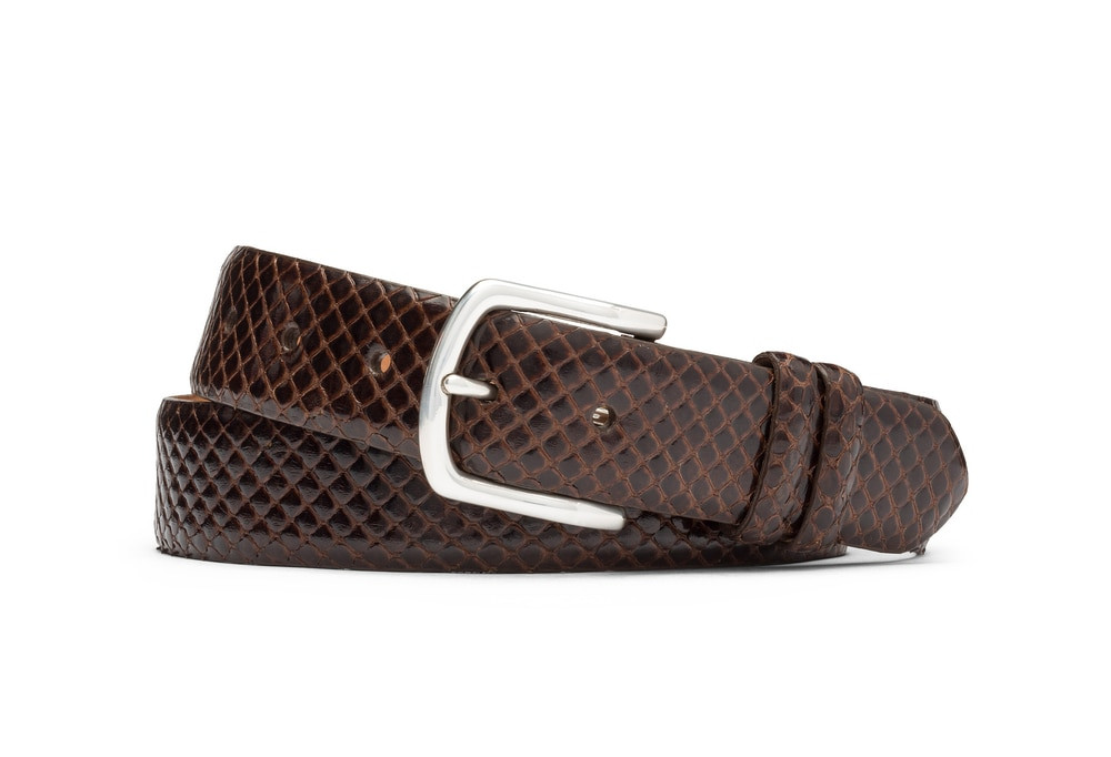 Chocolate Anaconda Belt with Nickel Buckle