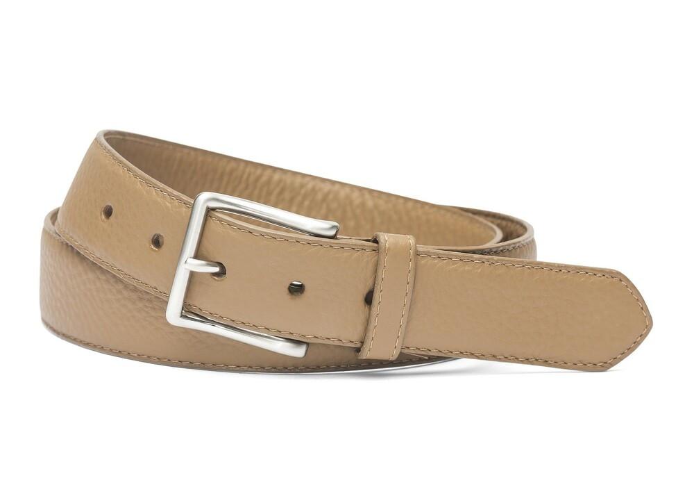 Beige Pebbled Calf Soft Belt with Brushed Nickel Buckle