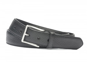 Black Pebbled Calf Soft Belt with Brushed Nickel Buckle