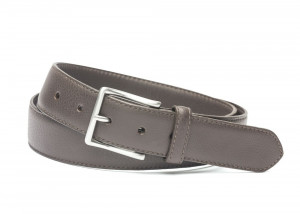 Chocolate Pebbled Calf Soft Belt with Brushed Nickel Buckle