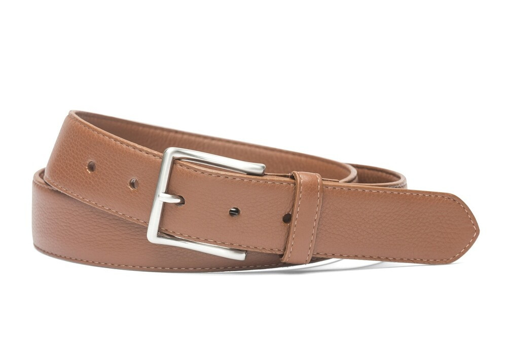 Cognac Pebbled Calf Soft Belt with Brushed Nickel Buckle