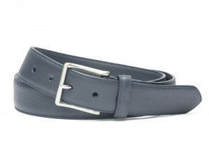 Navy Pebbled Calf Soft Belt with Brushed Nickel Buckle