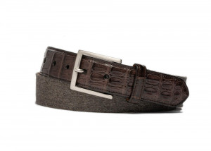Mocha Cashmere Belt with Croc Tabs and Brushed Nickel Buckle