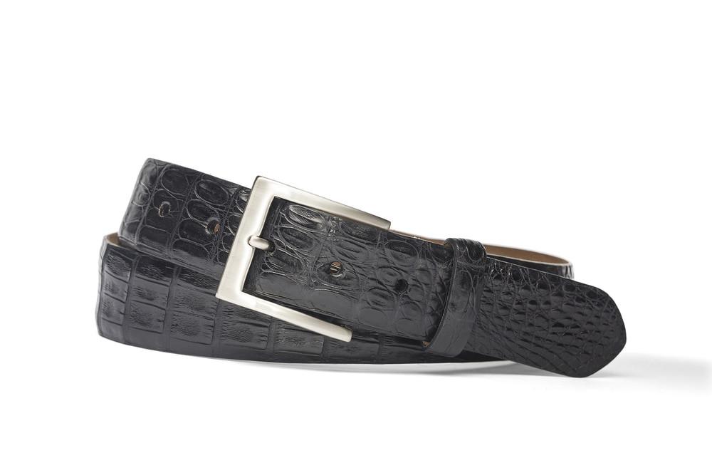 Black Caiman Crocodile Belt with Brushed Nickel Buckle