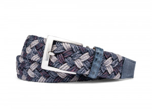 Indigo Woven Belt with Croc Tabs and Brushed Nickel Buckle