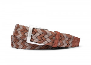 Rust Woven Belt with Croc Tabs and Brushed Nickel Buckle