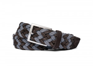 Ash Woven Belt with Croc Tabs and Brushed Nickel Buckle