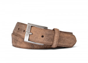 Peanut Distressed Suede Belt with Antique Silver Buckle
