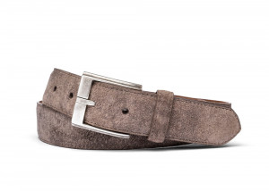 Taupe Distressed Suede Belt with Antique Silver Buckle
