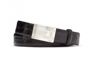 Black Embossed Crocodile Belt with Plaque Buckle