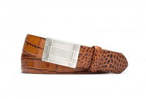 Cognac Embossed Crocodile Belt with Plaque Buckle
