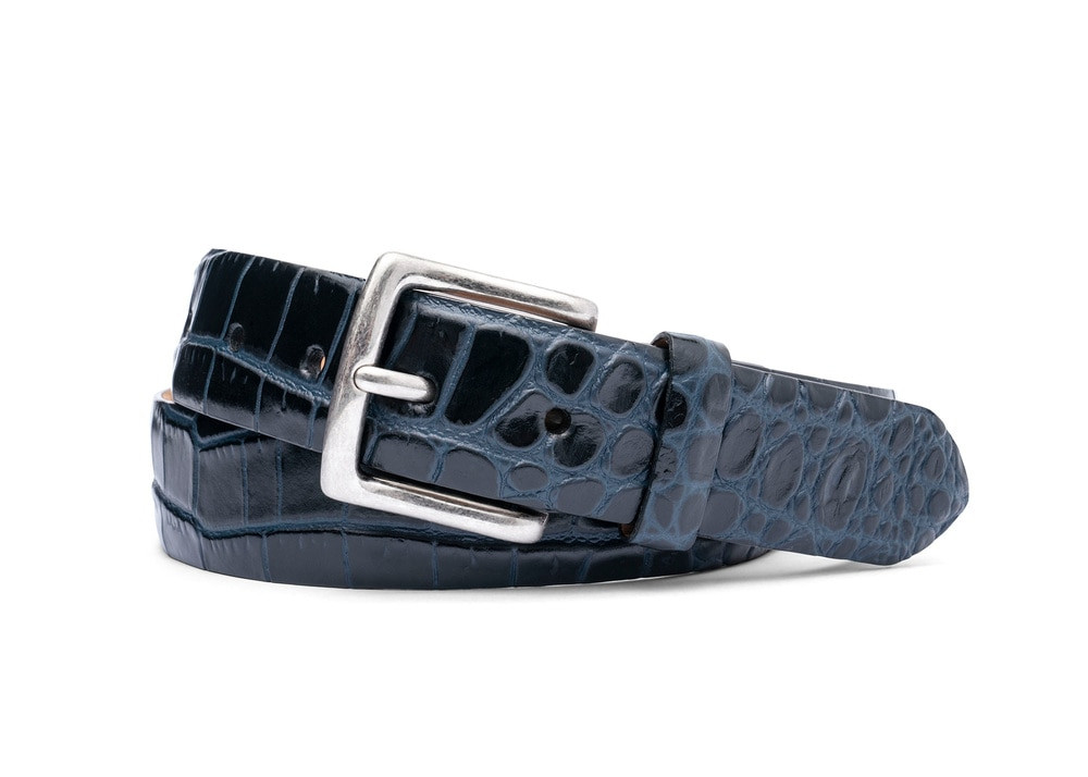 Ocean Black Two-Toned Embossed Crocodile Belt with Antique Silver Buckle
