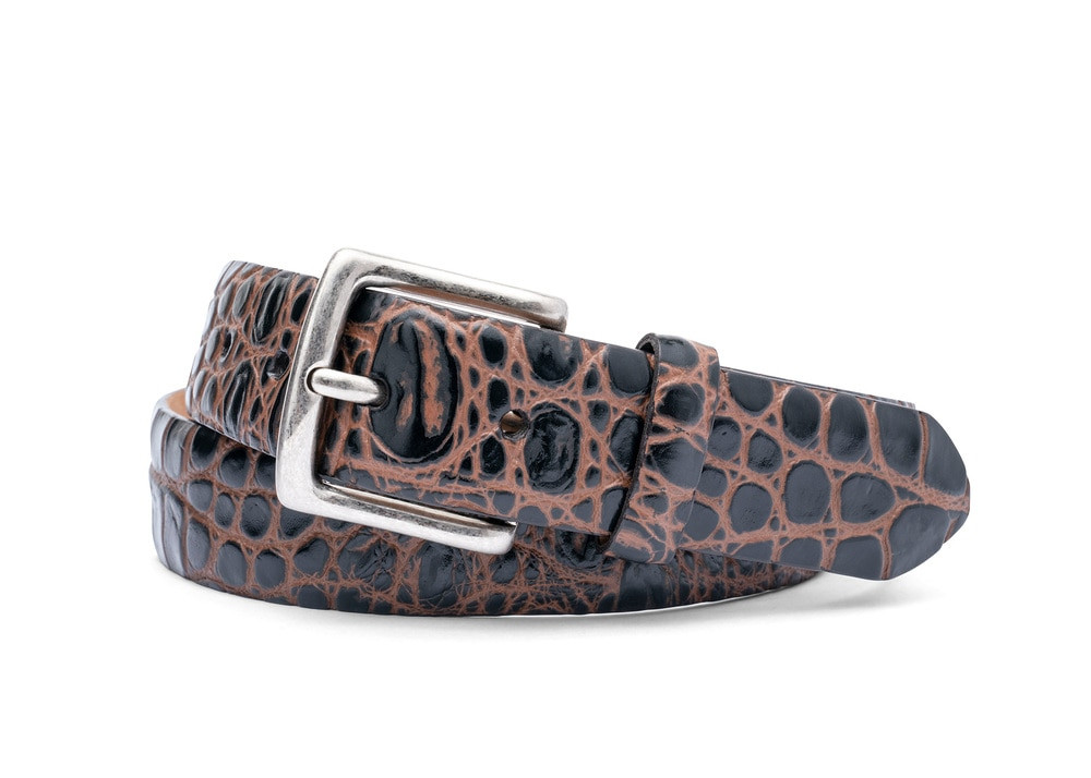 Cocoa Brown Two-Toned Embossed Crocodile Belt with Antique Silver Buckle