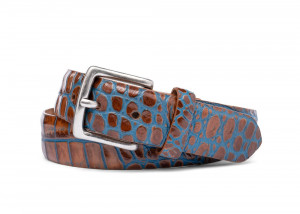 Marine Two-Toned Embossed Crocodile Belt with Antique Silver Buckle