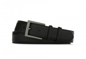 Black Matte Calf Belt with Gunmetal Buckle