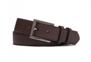 Chocolate Matte Calf Belt with Gunmetal Buckle