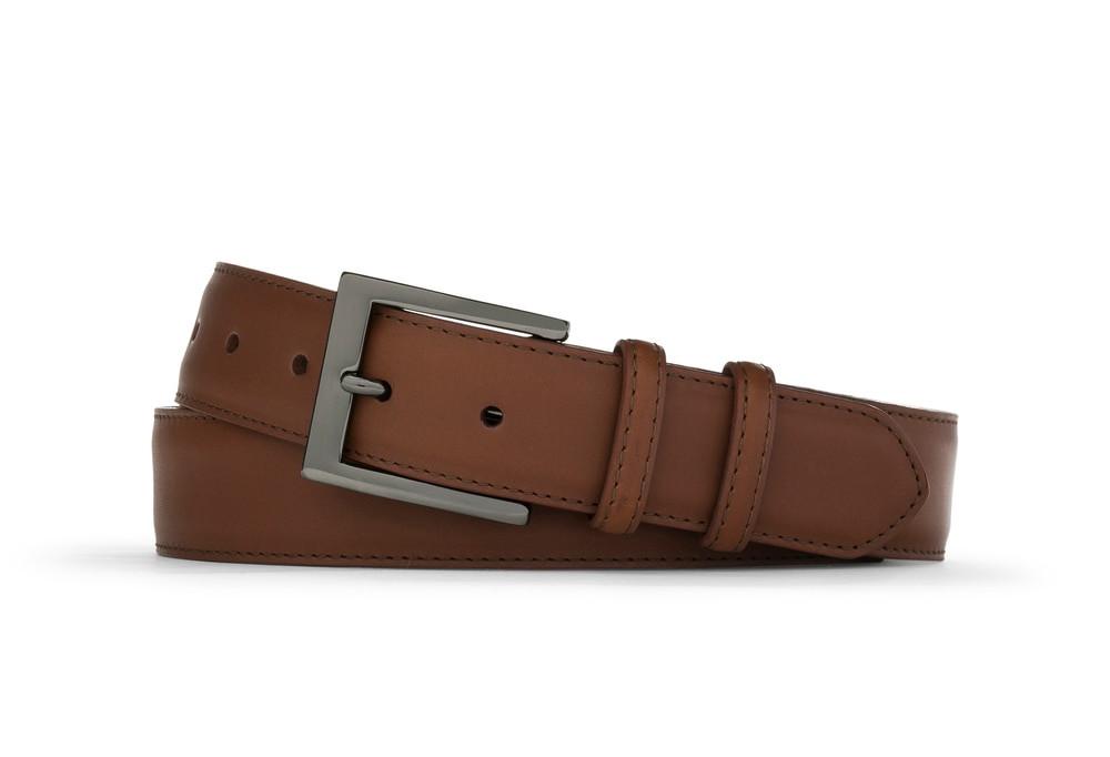 Cognac Matte Calf Belt with Gunmetal Buckle