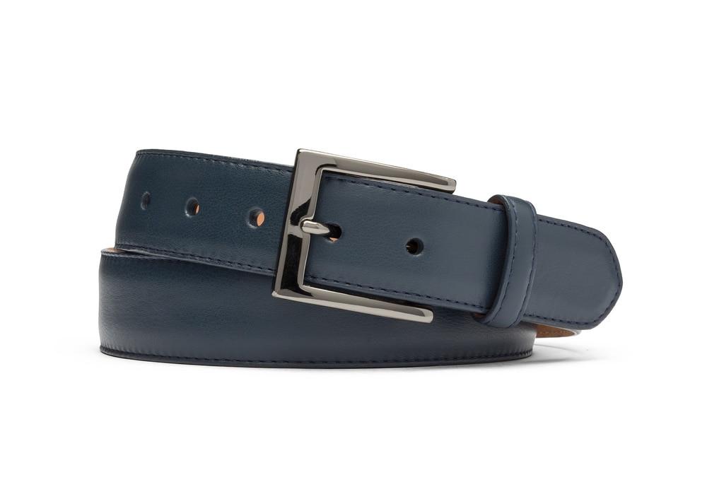 Navy Matte Calf Belt with Gunmetal Buckle