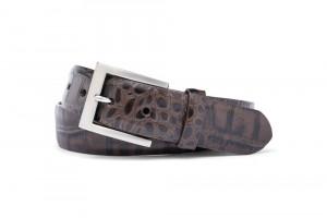 Chocolate Embossed Crocodile Belt with Brushed Nickel Buckle